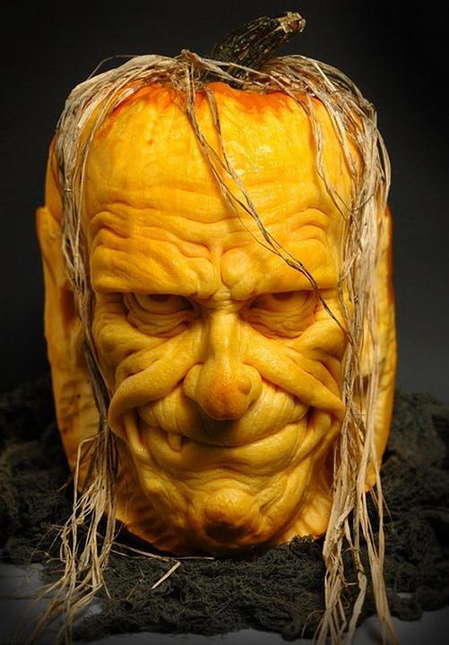 Halloween Pumpkin Carving Ideas   Sculpted Scary Face