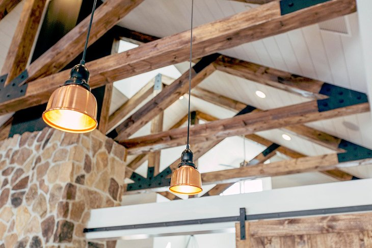 Stone Wall Industrial Vaulted Ceiling