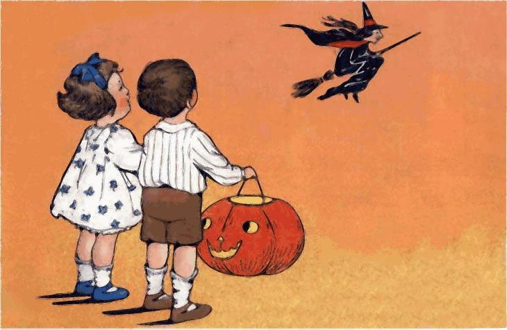 Vintage Halloween Children with Pumpkin