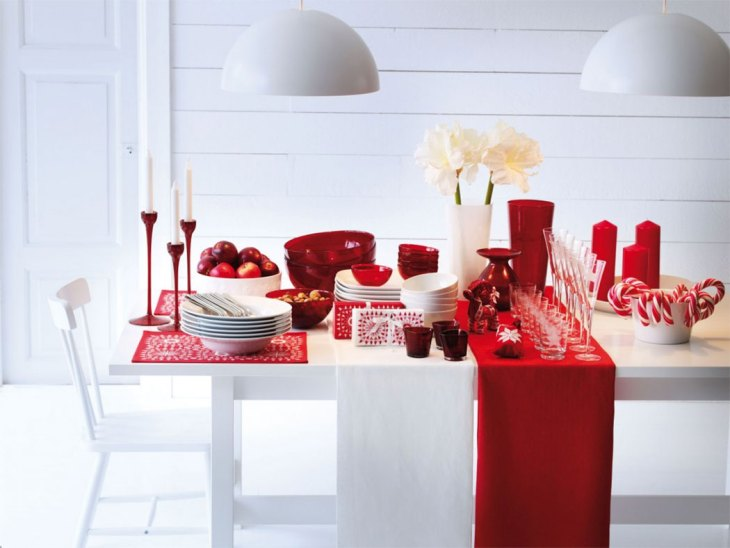 Candy Cane Inspired Red and White Christmas Table