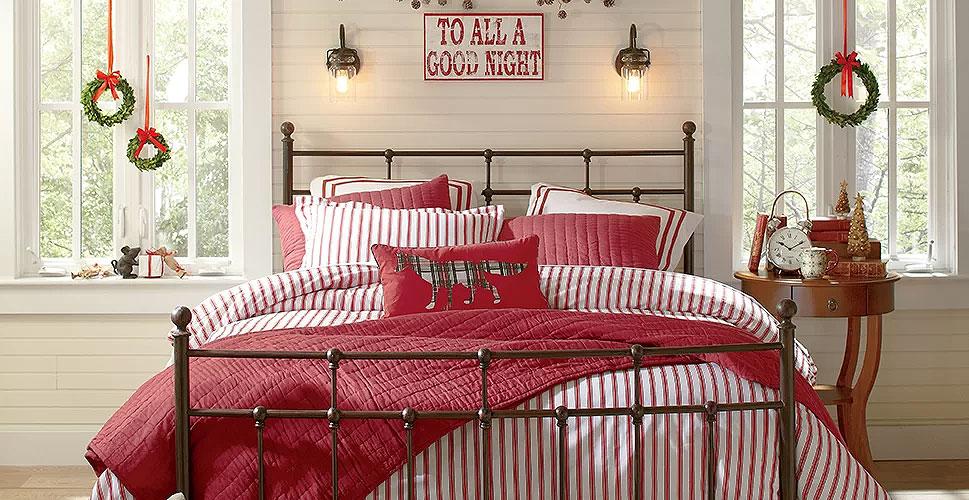 Christmas Bedroom Decor Red & White Stripes