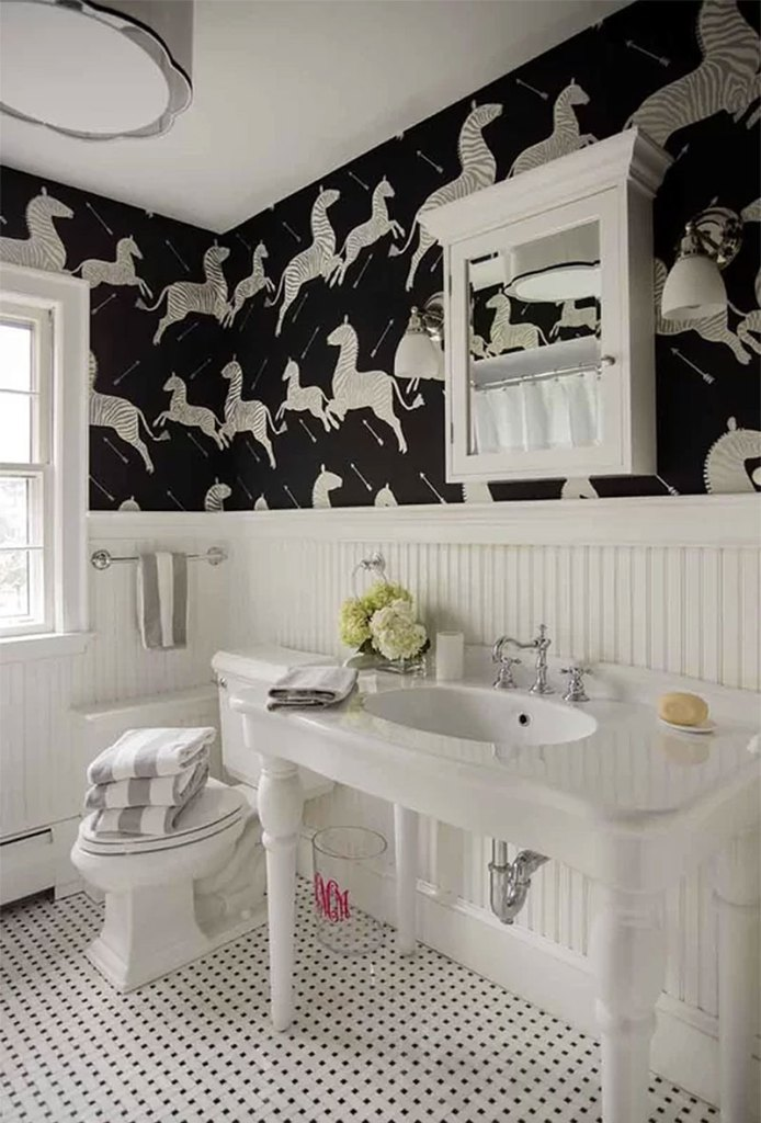 Classic Country Black & White Bathroom