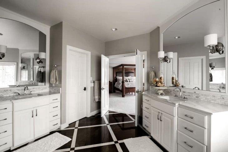 Classically Elegant Black & White Bathroom