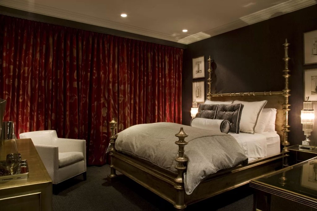 Glam Bedroom with Dark Red & Gold Curtains