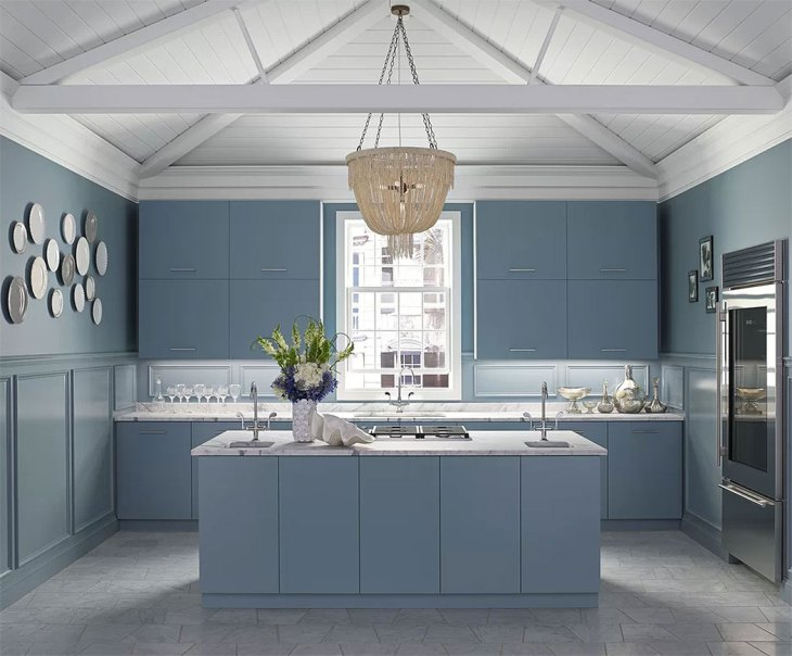 Modern Coastal Blue Kitchen