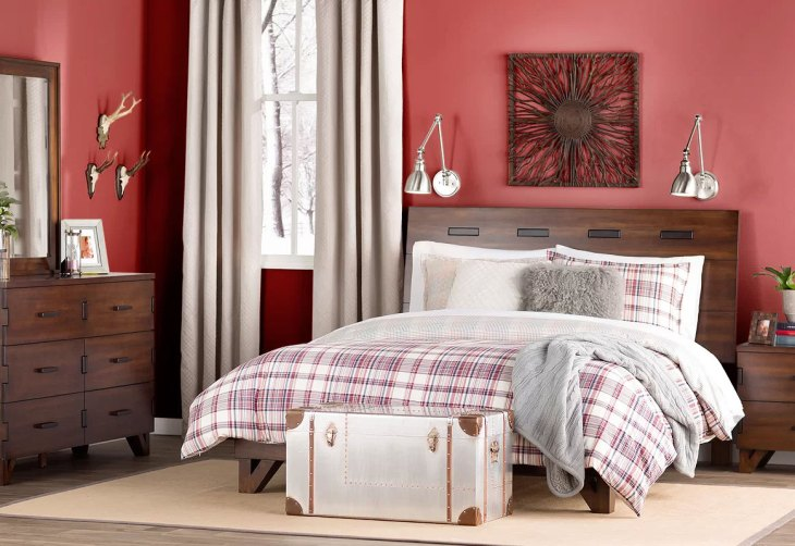 Modern Country Red Bedroom