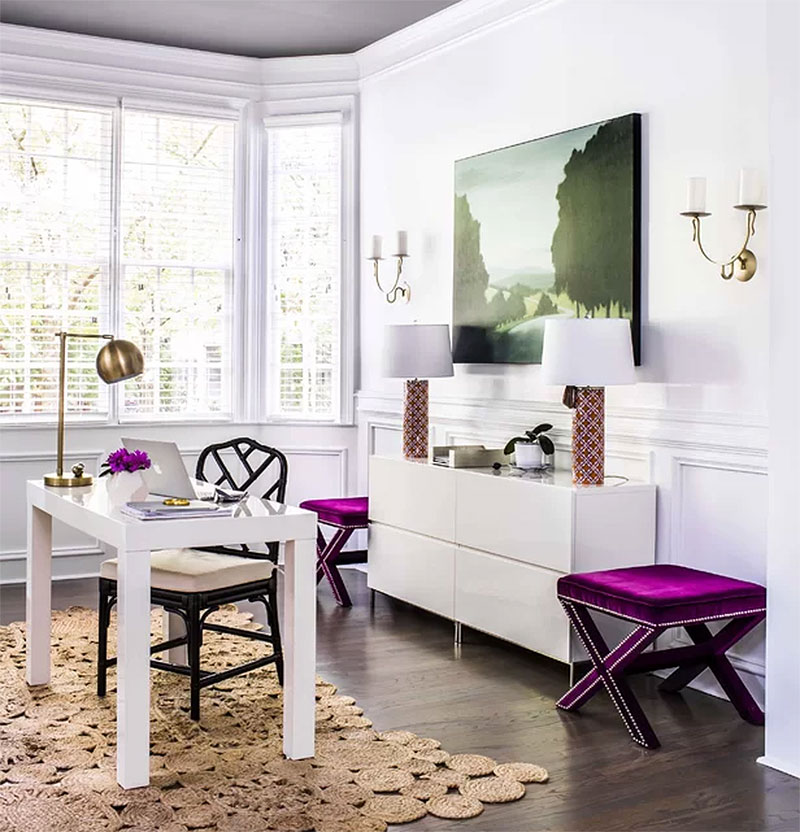 Purple and White Home Office Design