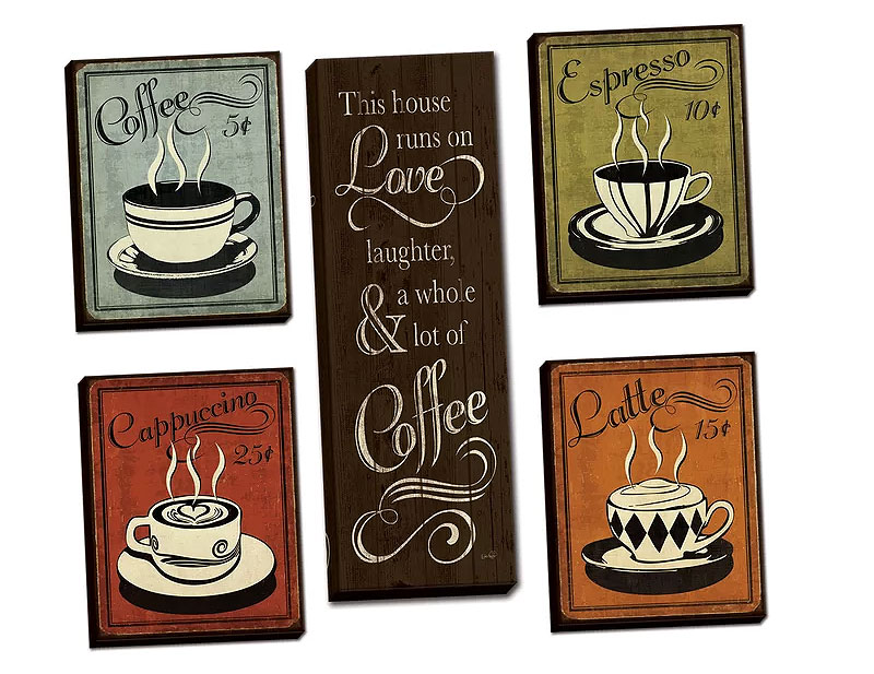 Retro Espresso Cappuccino Latte Coffee Decor Art.