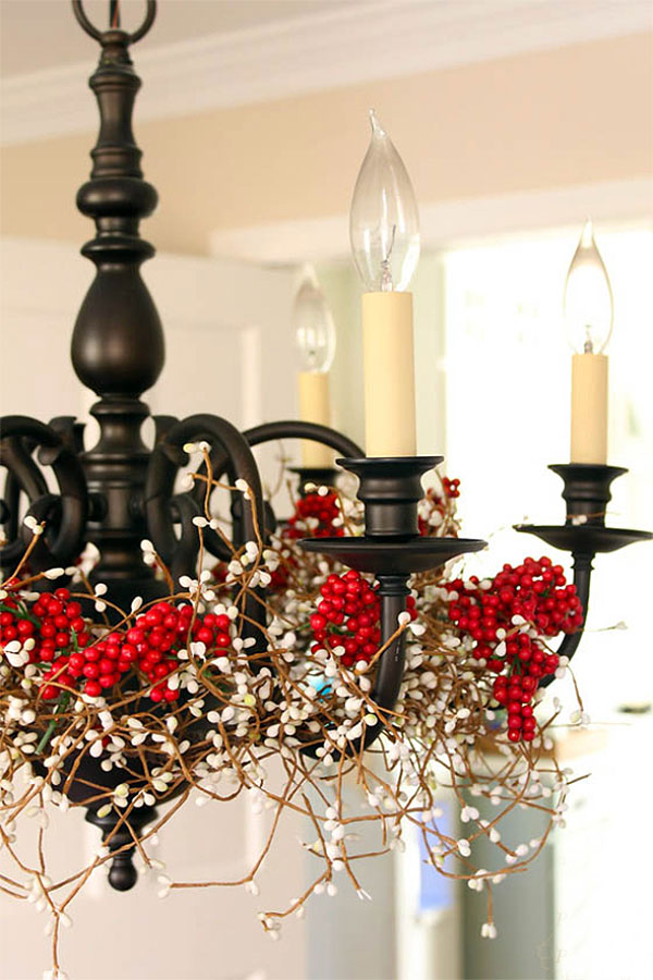 Rustic Red & White Berries Christmas Decorated Chandelier