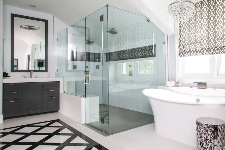 Sleek Black & White Bathroom
