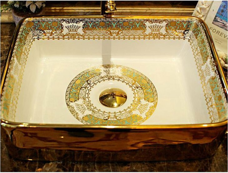 Arezzo Mosaic Gold Rectangular Vessel Sink