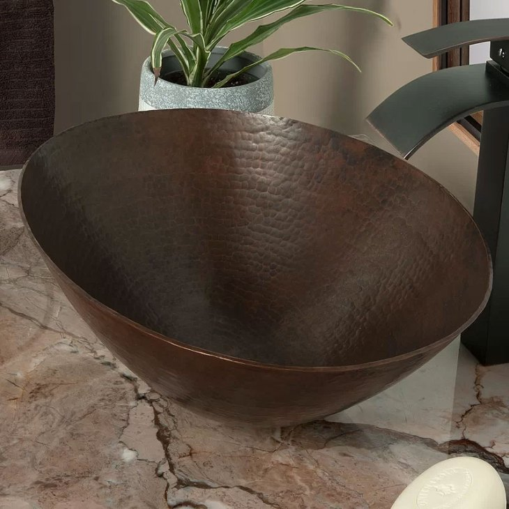 Bilboa Dark Copper Oval Vessel Bathroom Sink