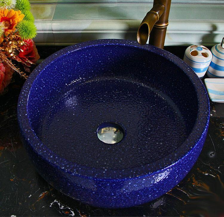 Blue Porcelain Art Handmade Vessel Bathroom Sink