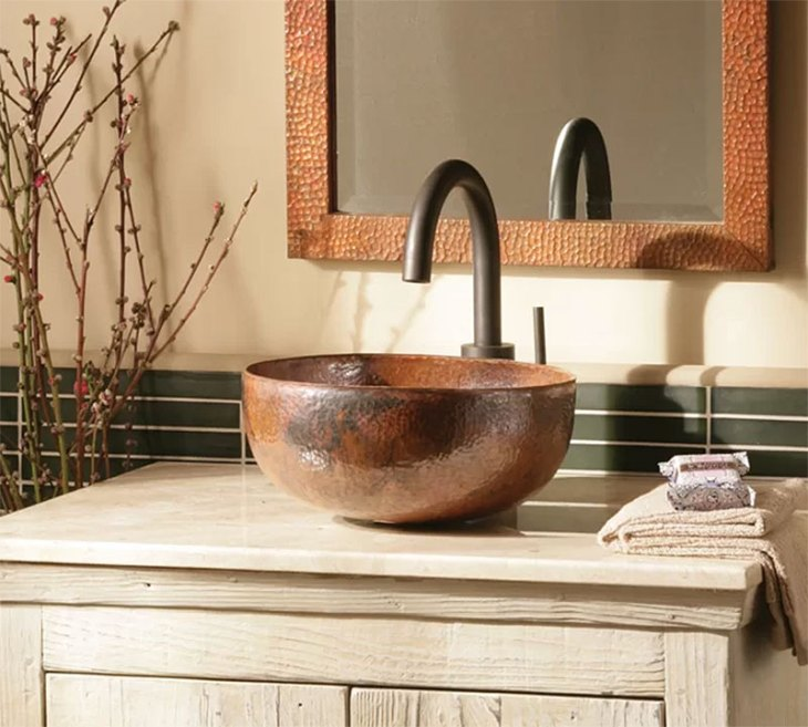 Maestro Metal Circular Copper Vessel Bathroom Sink