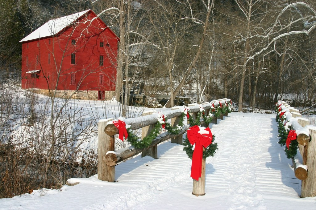 Snow Covered Bridge with Garland Winter Scene