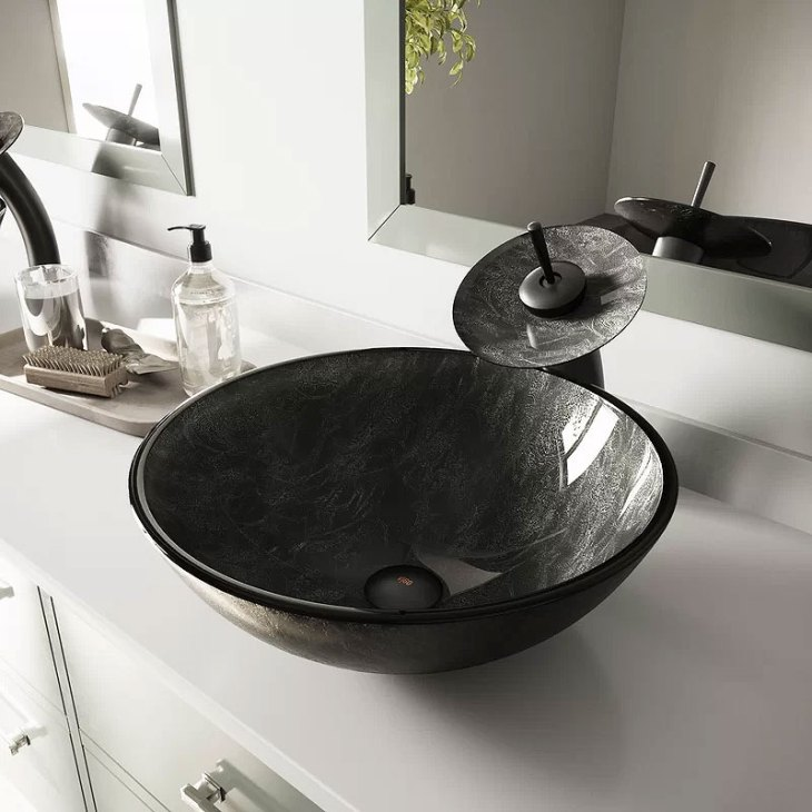 VIGO Tempered Glass Vessel Bathroom Sink