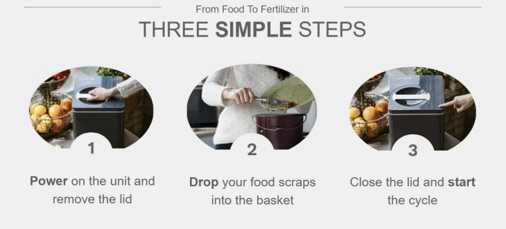 FoodCycler 3 Step Process to Compost Food into Fertilizer