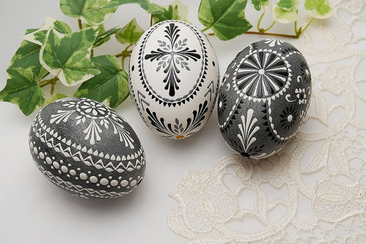 Black and White Painted Easter Eggs