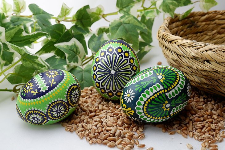 Blue and Green Painted Easter Eggs