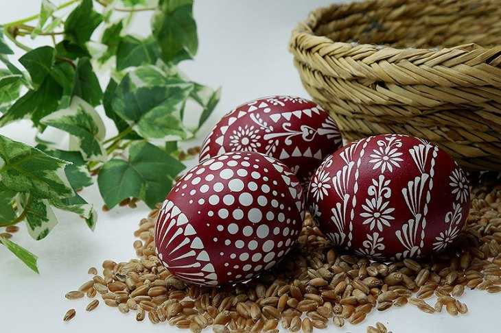 Maroon & White Painted Easter Eggs