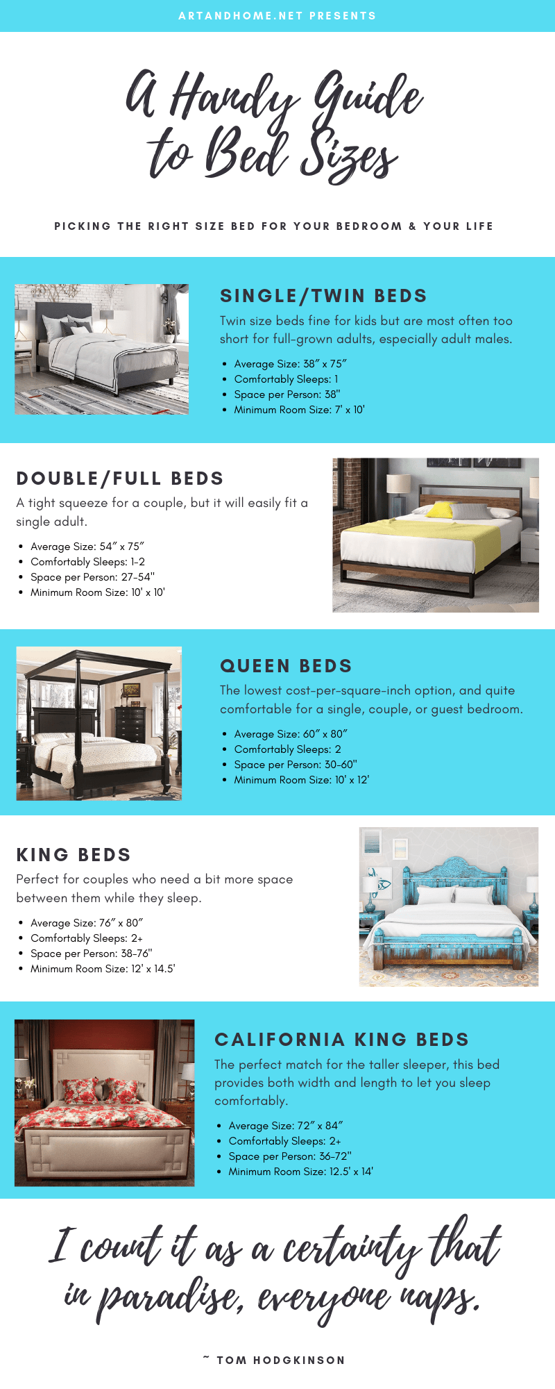 A Handy Guide to Bed Sizes: Infographic