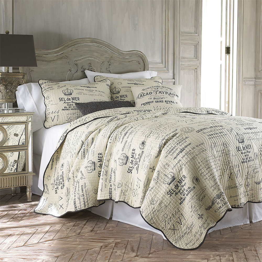 French Country Script Bedroom Design