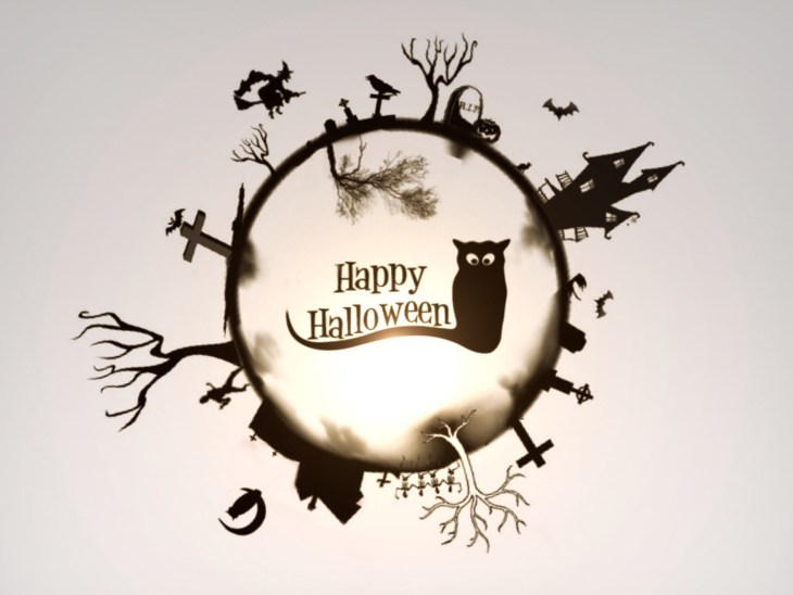 Happy Halloween Witch Cat Moon Sign