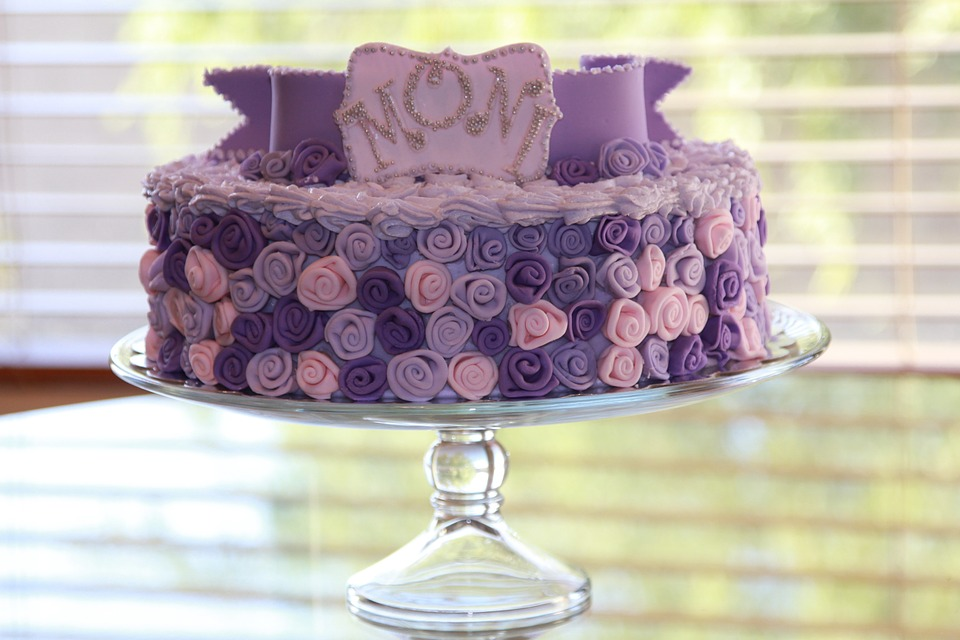Pink and Purple Rosettes Birthday Cake