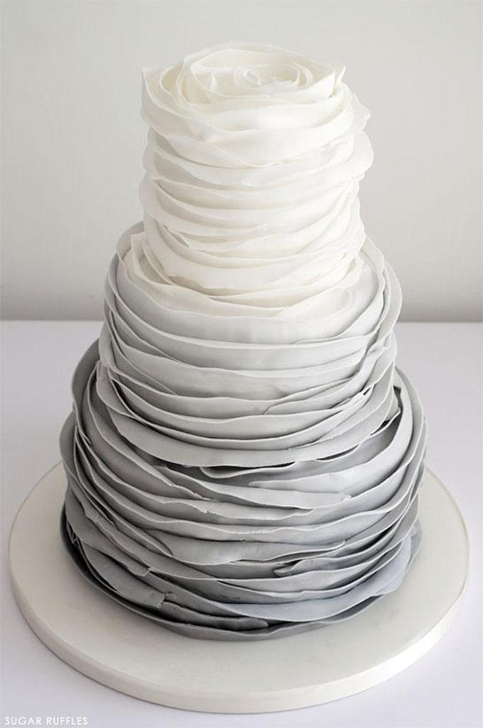 Shades of Gray Sugar Ruffles Cake