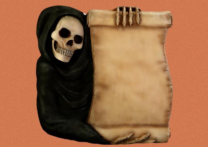 Skeleton Scroll Printable Halloween Sign or Invitation