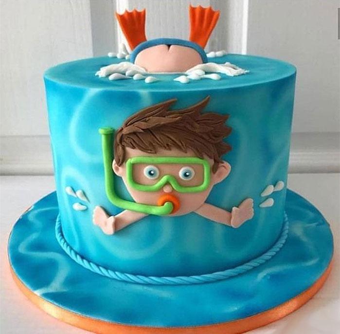 Swimming Birthday Boy Cake
