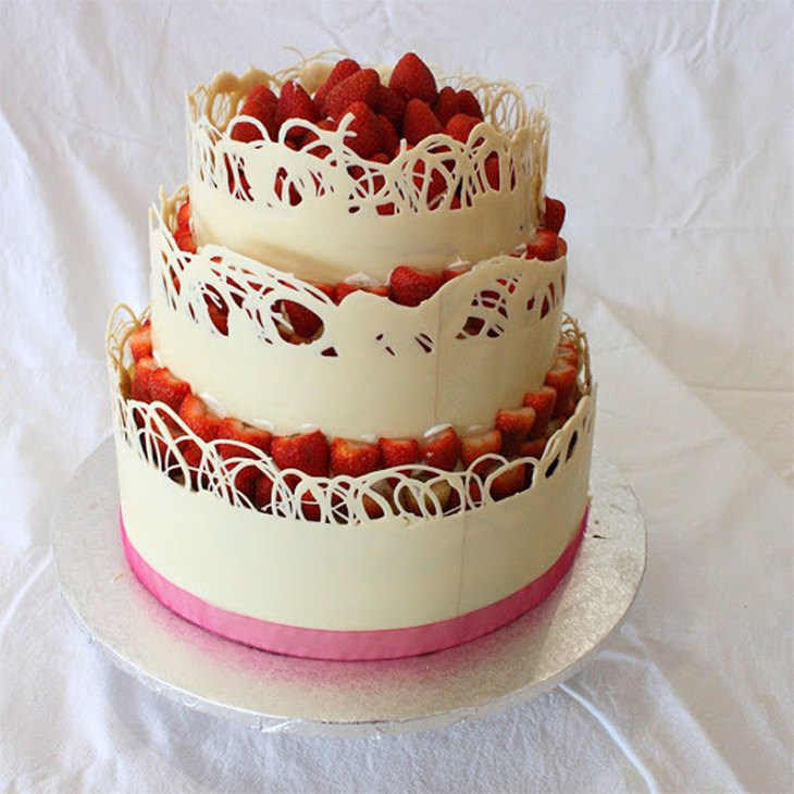 White Chocolate Lace Collar Birthday Cake