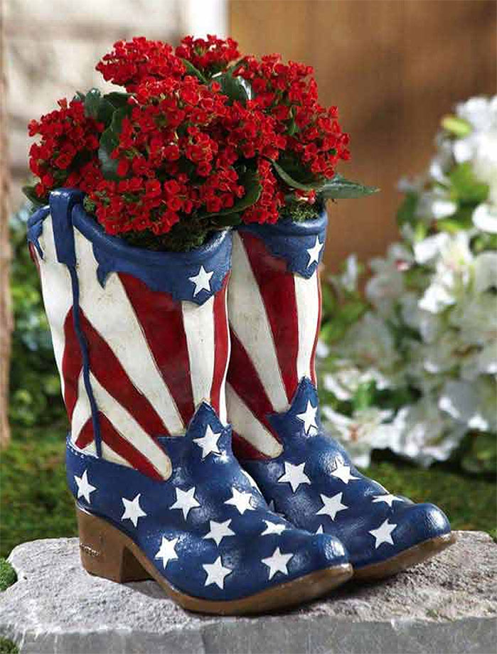 American Flag Cowboy Boots Planter