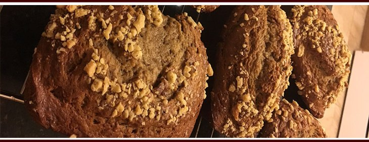 Crushed Walnuts on top of Banana Bread