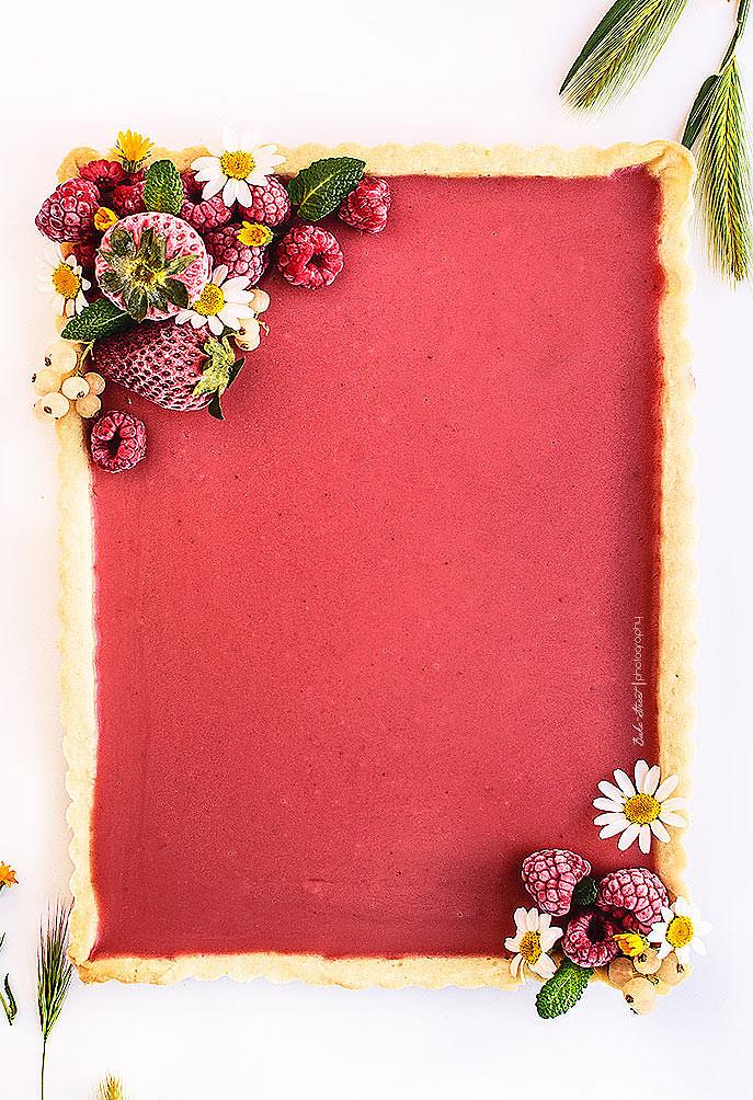 Strawberry, Peppermint, & Pink Pepper Rectangular Tart