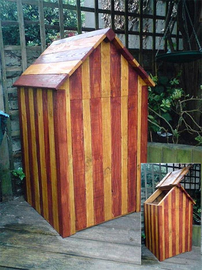 Striped DIY Compost Hut