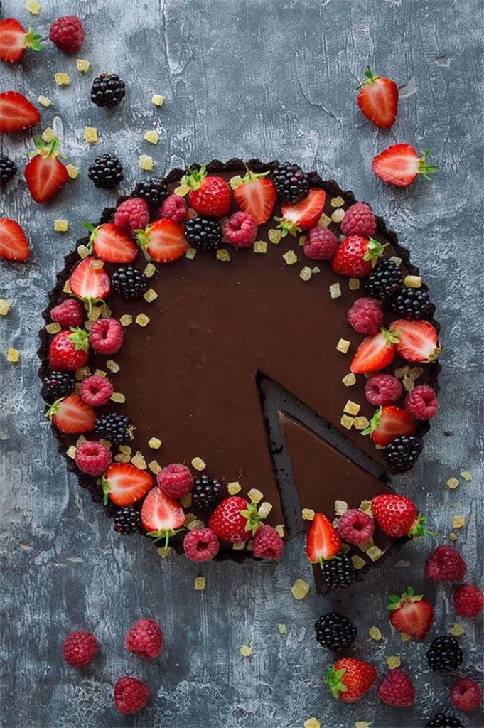Vegan Chocolate Ginger Tart Garnished with Berries