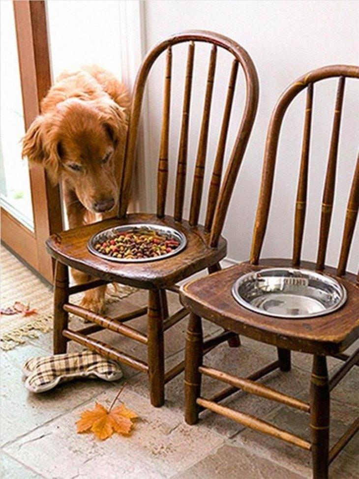 Antique Chair Dog Bowl Feeding Station