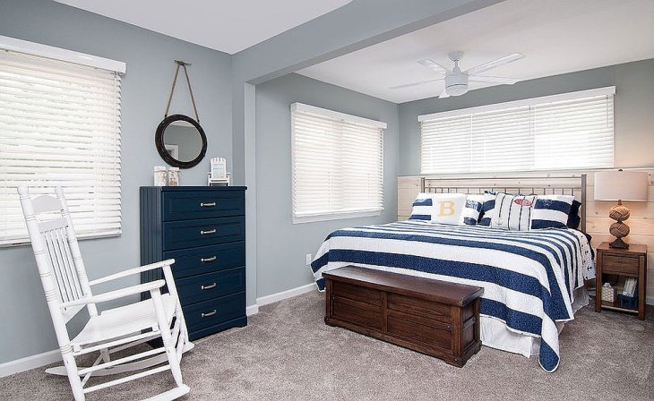 Beach Style Blue & White Bedroom
