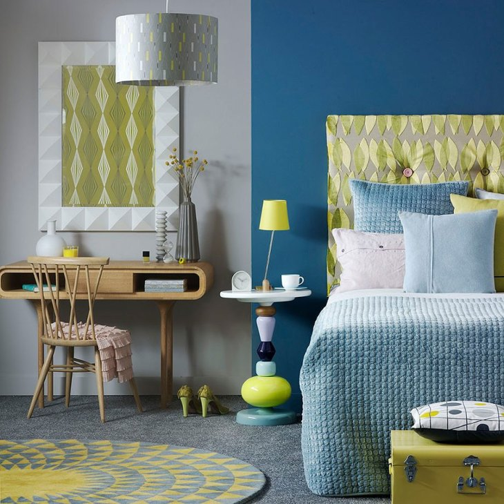 Chartreuse and Steel Blue Mid-Century Modern Bedroom
