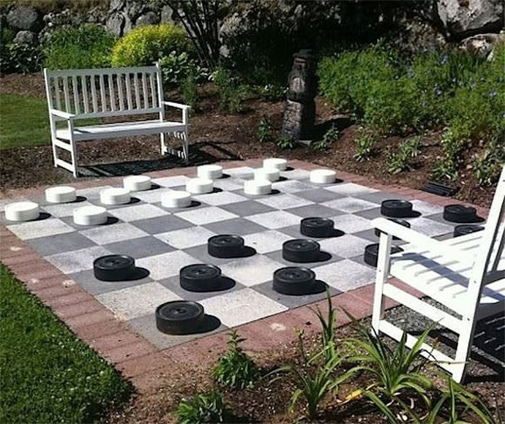 DIY Backyard Checkers Game Board
