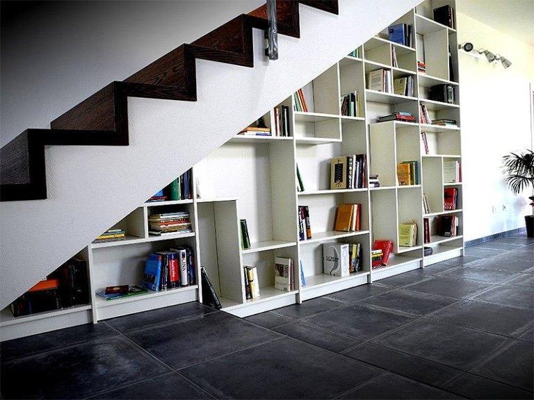 DIY Built in Shelves Under Stairs