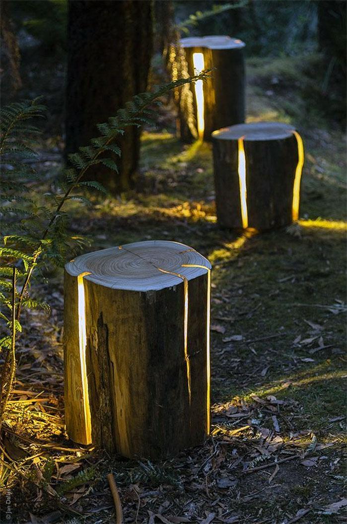 DIY Cracked Log Garden Lights