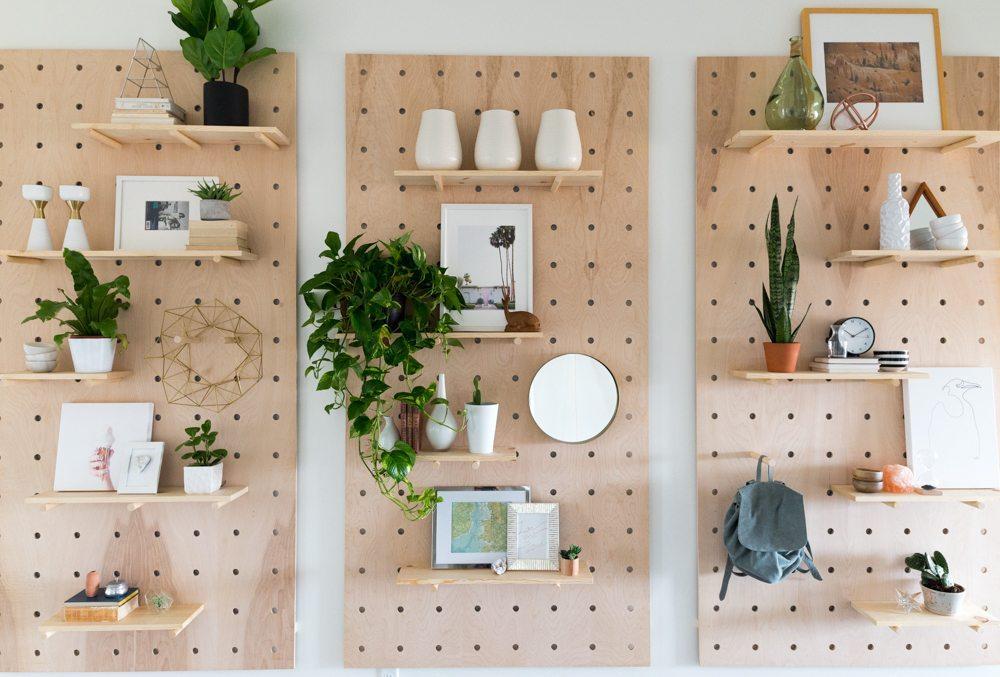 DIY Giant Pegboard Shelf System