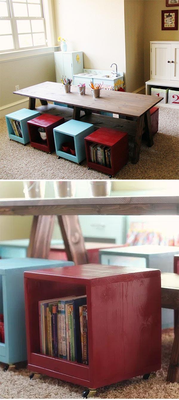 DIY Kids Play Table & Storage Stools