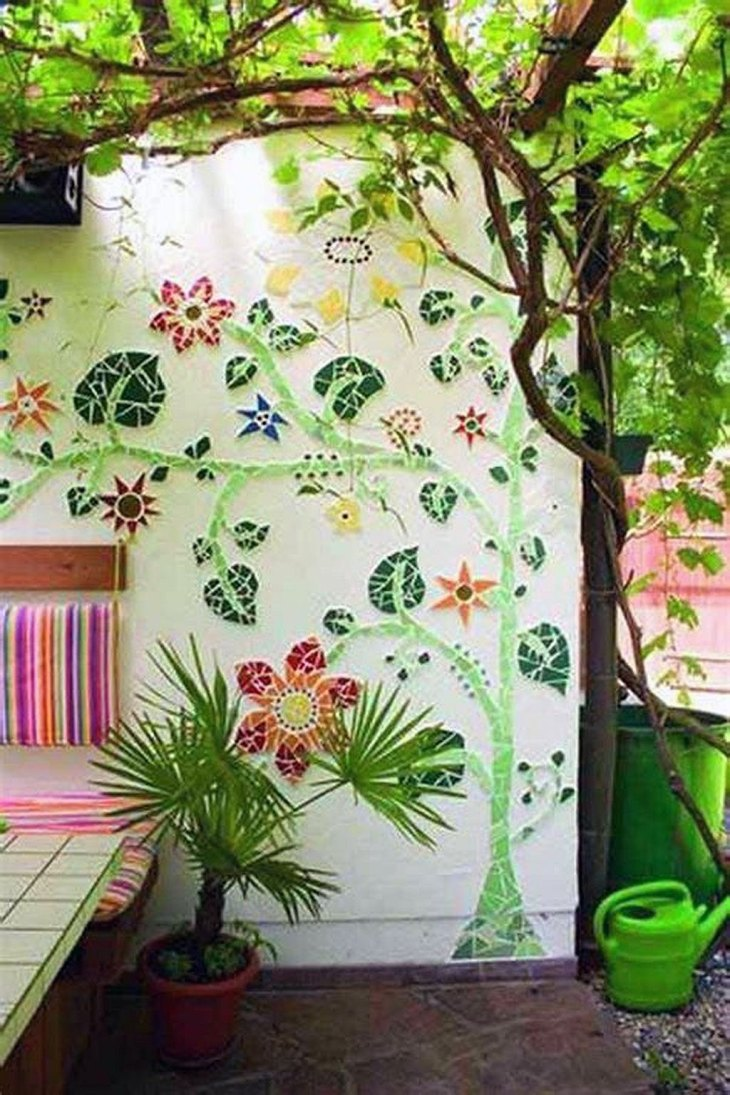 DIY Mosaic Garden Wall