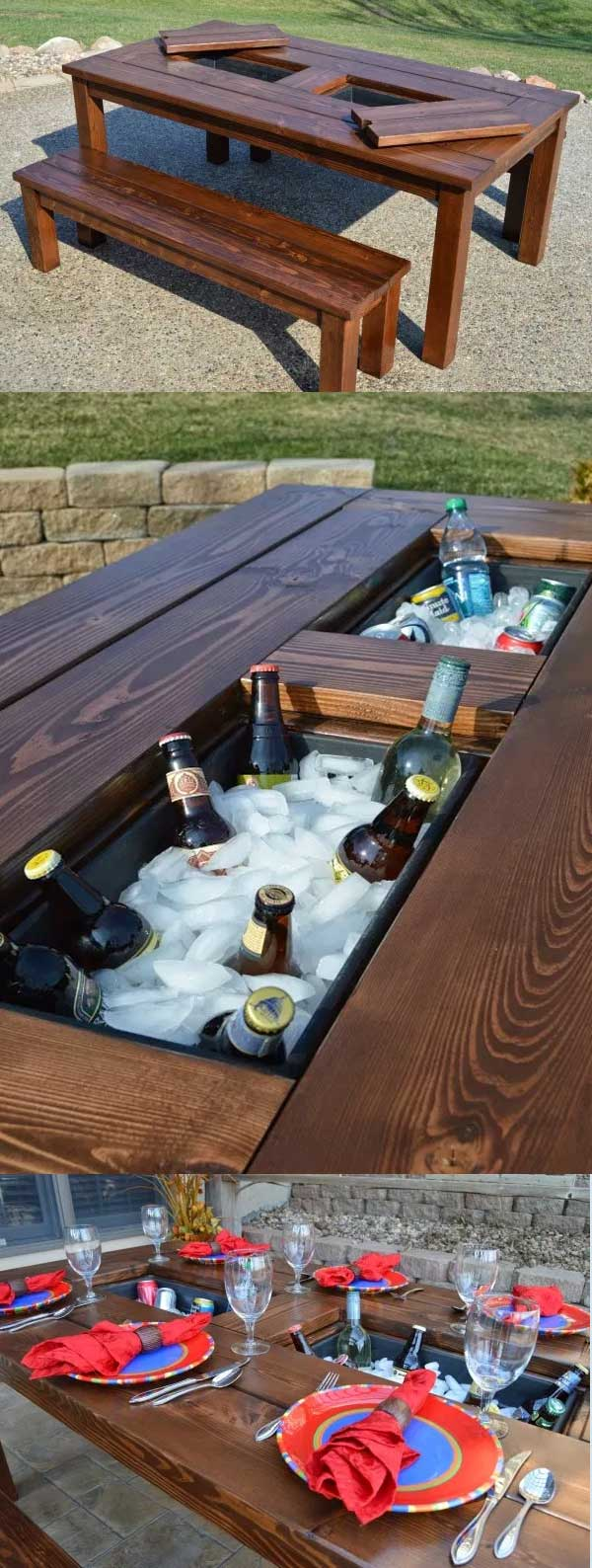 DIY Outdoor Table with Built-in Ice Chest