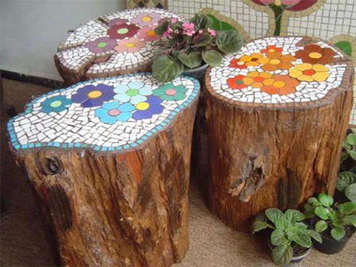 DIY Tree Stump Tile Mosiac Stools