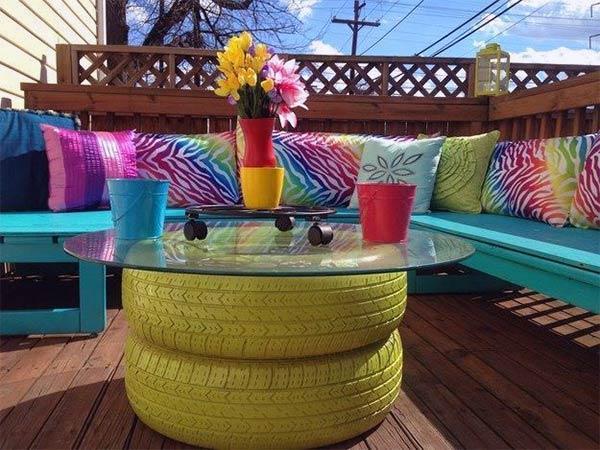 DIY Used Tire Coffee Table