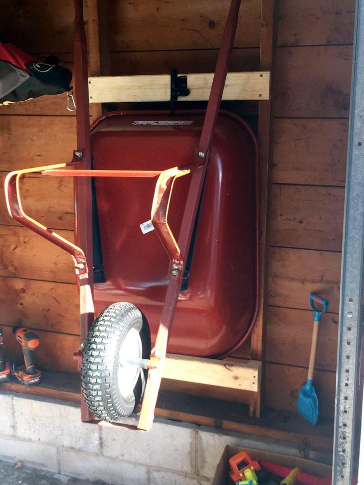 DIY Wheelbarrow Storage Mount